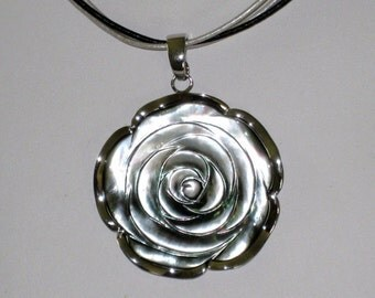 Sterling & Carved Shell Rose Pendant On 3 Braided Cords Necklace / SX 925 / Lovely / FREE US Shipping