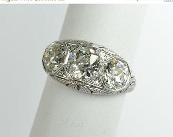 On Sale Art Deco Three Stone Diamond Ring in Platinum 2.75 ctw.