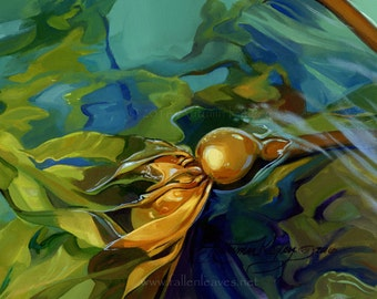 Kelp Study I - Original Oil Painting on Loose Canvas - 7 1/8 x 9 1/2 Inch Image Mounted and Matted to 13 1/8 x 15 1/2 inches