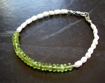 Green Fairy - Genuine Peridot & Pearl Bracelet, August And June Birthstone Bracelet, Boho Gypsy Festival Jewelry, Mothers Day, GIfts For Her