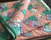 Rare 1920's Peach Base Hand Stitched Mint Condition Quilt