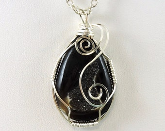 Black Agate Druzy Necklace, Wire Wrapped Necklace, Druzy Jewelry, Wire Wrapped Jewelry, Drusy, Black Necklace