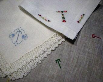 "Three Vintage Monogrammed Handkerchiefs Letter ""T""  ~ Vintage Cotton Monogram Initial T Hankies ~ Floral Motif Monogram Letter T Hankie"