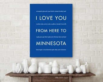 Housewarming Gift, Minnesota Travel Art Prints, I Love You From Here To MINNESOTA, Choose Color Canvas Frame Travel Poster