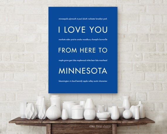 Dorm Room Decor, Housewarming Gift, Minnesota State Art, I Love You From Here To MINNESOTA, Choose Color Canvas Frame Travel Poster