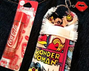 Wonder Woman Chapstick Holder Keychain for Women, Red Lips Charm, Lip Balm Holder Key Ring, Lip Balm Keychain, Lip Smackers Coca Cola Balm