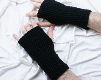 Fingerless Gloves - Men's Gloves - Black Gloves - Men's Wrist Warmers - Gloves for Men - Ready to ship