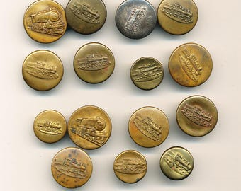 Antique Vintage Work Clothes  Buttons - Railroad Lot of 15  ca. 1920