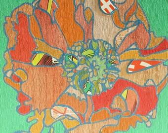 Oriental poppy mini painting on wood 45