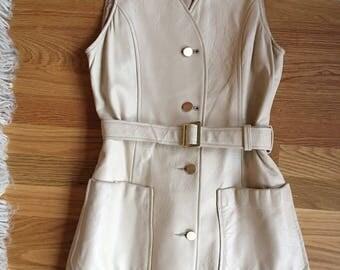 Vintage 1960s White Leather Minidress