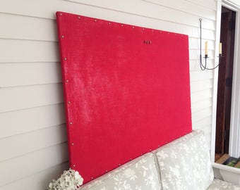 "Huge X-Large Burlap MAGNETIC Bulletin Board - 34 x 52"" Red Rustic with Hardwood Construction, Brass Upholstery Tacks Button Magnet"