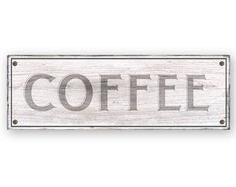 Coffee Sign - Rustic weathered wood sign  - Rustic distressed home decor - Country Kitchen decor - Coffee shop Cafe -