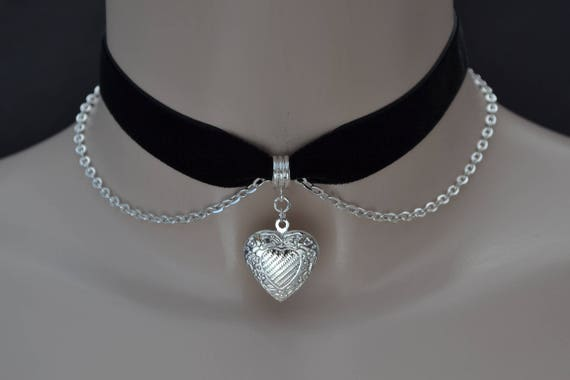 """HEART LOCKET Silver Plated (Opening) With Belcher Chain on BLACK 3/8"""" 16mm Velvet Ribbon Choker -ky... 30 colours, handmade to size :)"""
