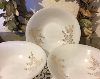 Vintage White Milk Glass Round Vegetable Serving Bowls ~ Gold Leaf Pattern Inside ~ Federal Glass Company ~ Heat Proof