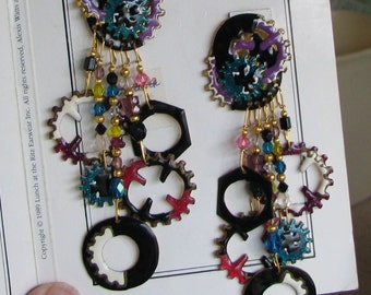 """Lunch At The Ritz """"Gears"""" Post Earrings Early Production"""