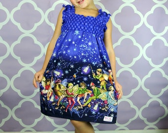 Purple Enchanted Fairies  Shirred Dress (2T, 3T, 4T, 5, 6, 7, 8, 10 )