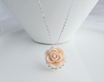 Rose Necklace, Blush Pink Rose Necklace, Bridesmaid Gifts, Gifts for Bridesmaids, Flower Girl Gifts, UK Seller, Vintage Inspired Jewellery