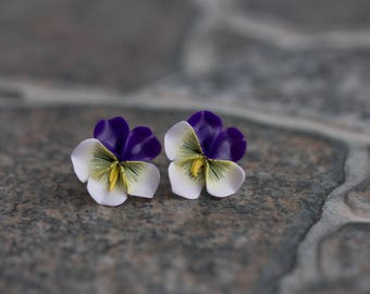Purple White Pansies Stud Earrings Wholesale Kiss-me-quick Studs Hypoallergenic Small Flower Stud Bridal Wedding Jewelry Gifts Earrings