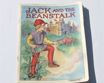 Vintage Children's Book: 1939 Linenette Book, Jack and the Beanstalk