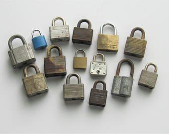 Vintage Padlocks: 14 Industrial Vintage Locks, Instant Collection