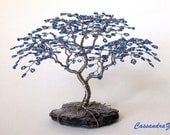 Two Mini Beaded Wire Tree Sculptures