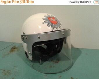 ON SALE Vintage  helmet riot, white helmet, Military helmet, police helmet,