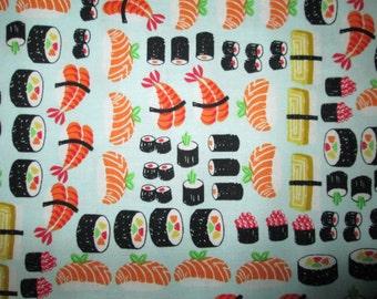 Sushi Fish Aqua Cotton Fabric Fat Quarter Or Custom Listing