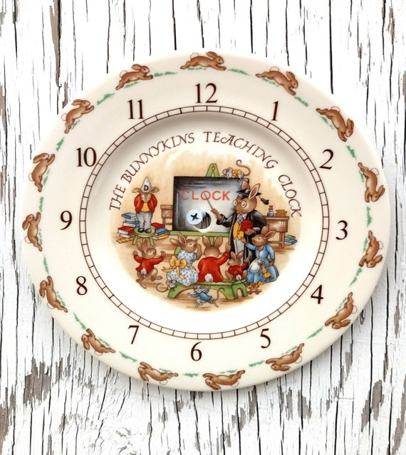 Vintage 1936 Bunnykins Teaching Clock by Royal Doulton