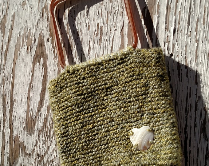 Sage Green Knit Bag with Vintage Lucite Handles and Heart Shell Charm