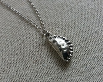 Silver Cornish Pie Necklace. SilverCornish Pie. Food Jewelry. Cornwall Pie Pendant. Pastry Necklace