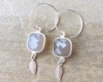 Grey Chalcedony and Sterling Silver Earrings