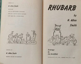 Rhubarb -H Allen Smith- Hardcover- Cat inherits Baseball team - 1st Print 1946