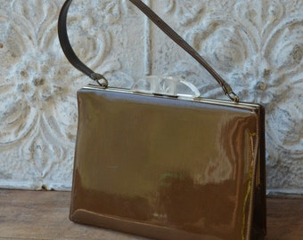 Vintage Brown Patent Leather Kelly Bag With Lucite Detail By Mar-Shel Handbags, Faux Leather Kelly Bag, Mad Men Handbag
