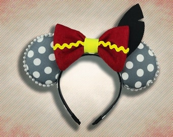Flying Elephant Mouse Ear Headband with Bow & felt black feather