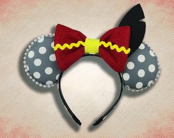 Flying Elephant Mouse Ear Headband with Bow & felt black feather