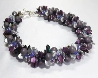 Purple and Silver Bracelet, Handmade 7 strand Kumihimo bracelet, chunky purple and silver bracelet
