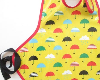 Art Smock in Bold Umbrellas and RainClouds--Size 6 and Up--CPSIA Compliant--Ready to Ship