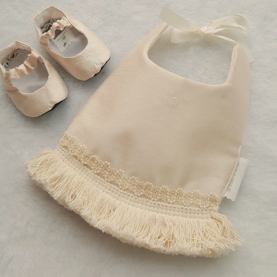Olivia: Boho Baby Bib- Couture Silk Fringe Pearl Trim Vintage Baby Drool Bib