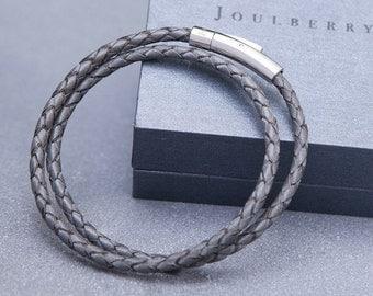 Charcoal Slim Braided Double Leather Wrap Bracelet