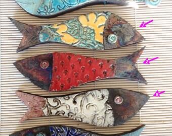Ceramic Raku Fish - Wall Hanging