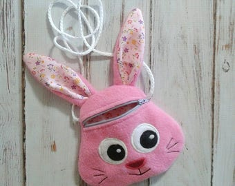 Girls Bunny Purse, Easter Bunny Purse, Girls Zippered Purse, Zippered Bunny Purse, Animal Purse, Girls Bunny Cross Body Bag, Bunny Purse