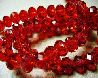 Crystal Beads Red Faceted  Rondelles  6x4MM