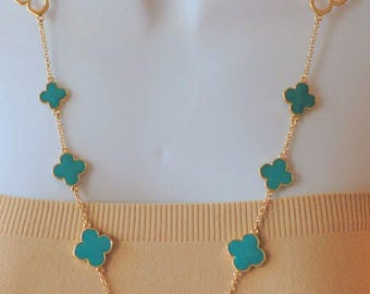 Turquoise enamel and Gold Four Leaf Clover Flower Necklace, Gift for her, Long necklace, Turquoise, Birthday gift, clover necklace