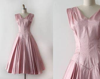 vintage 1950s dress // 50s pink evening prom party dress