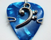 Guitar Pick Jewelry - Blue Guitar Pick with a Bass Clef Charm