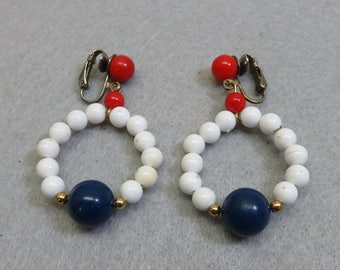 Red, Navy and White Plastic Bead Clip On Earrings