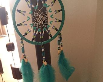 """Turquoise Medium Dreamcatcher 4.5"""" diameter"""