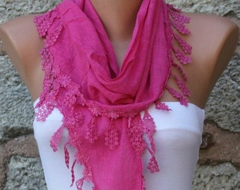 ON SALE --- Hot Pink Cotton Scarf,Fall Easter, Mom Cowl Bridesmaid Gift Bridal Accessories Gift Ideas For Her Women's  Fashion Accessories