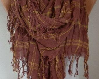 ON SALE --- Brown Cotton Tartan Scarf, So Soft,Teacher Gift,Shawl,Fall Winter Accessories,Plaid Scarf, Cowl Gift Ideas For Her Women Fashion