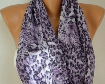 ON SALE --- Lilac Leopard Print Infinity Scarf Circle Scarf Loop Scarf Gift Women Scarves -fatwoman